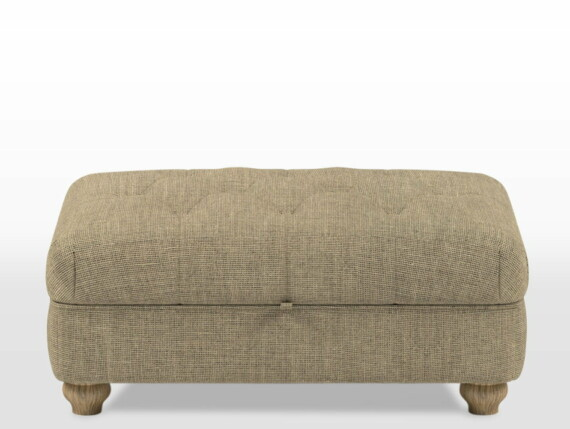 Wood Bros Storage Footstool (buttoned diamond stitching) in Light Oak Traditional head on image