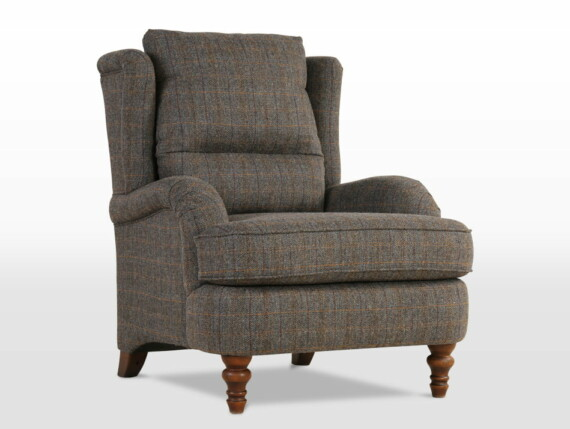 Wood Bros Compact 3 Seater Sofa in Light Oak Traditional head on image