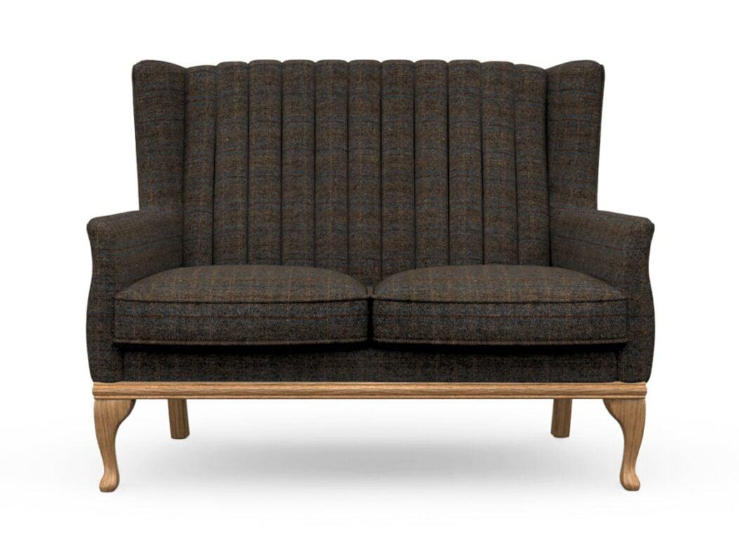 Harris Tweed Herringbone Charcoal, Blakeney 2 Compact Sofa in Harris Tweed