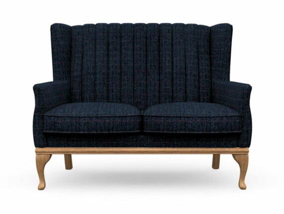 Harris Tweed Herringbone Denim, Blakeney 2 Compact Sofa in Harris Tweed