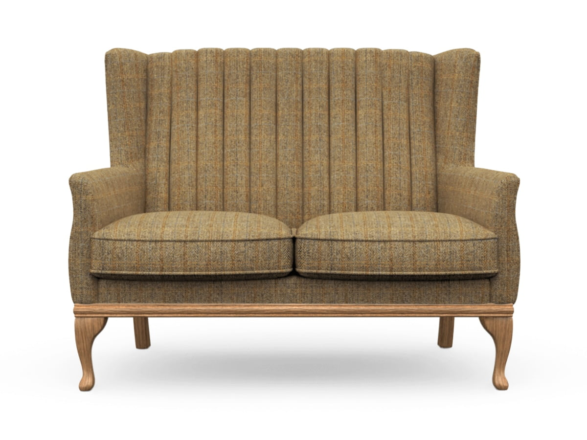 Harris Tweed Herringbone Moss, Blakeney 2 Compact Sofa in Harris Tweed