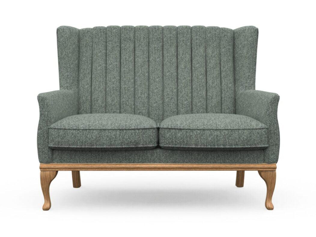 Harris Tweed Herringbone Slate, Blakeney 2 Compact Sofa In Harris Tweed