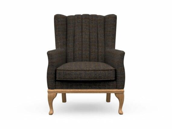 Harris Tweed Herringbone Charcoal, Blakeney Armchair in Harris Tweed