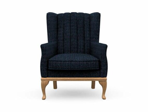 Harris Tweed Herringbone Denim, Blakeney Armchair in Harris Tweed