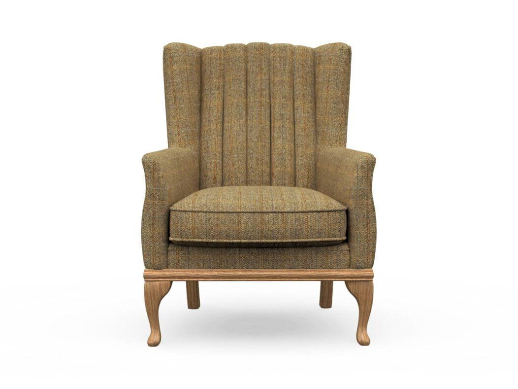 Harris Tweed Herringbone Moss, Blakeney Armchair In Harris Tweed