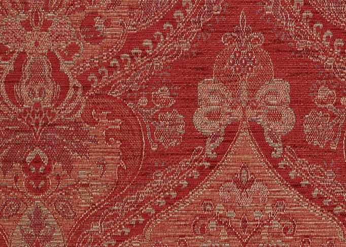 Benjamina Cloisters Ruby fabric, tapestry fabric, pattern fabric, gold woven fabric, red upholstery fabric