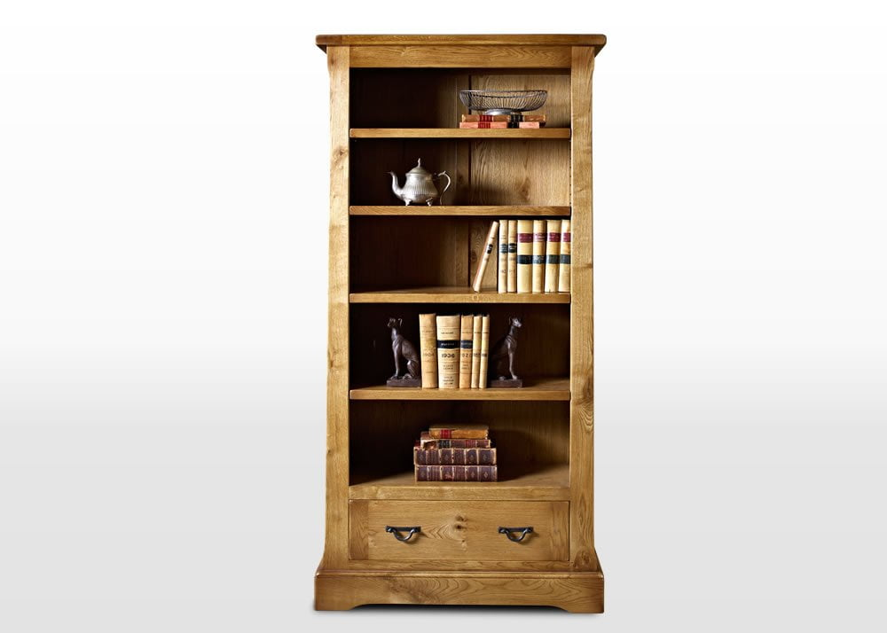 Wood Bros Bookcase with Drawer Angled Image