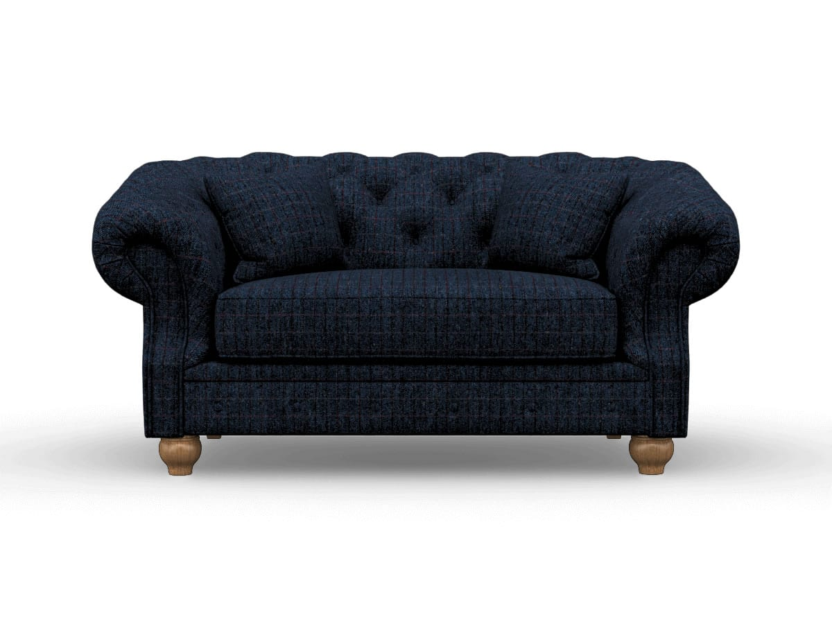 Picture of: Harris Tweed Deepdale Loveseat Sofa In Herringbone Denim Wood Bros