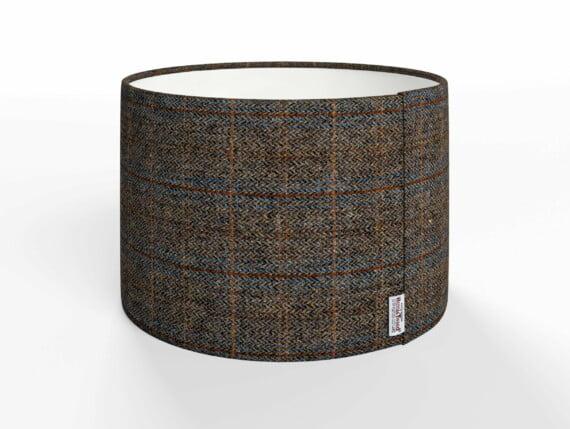 harris tweed lampshades, herringbone charcoal lampshade, dark grey herringbone lampshade, dark grey harris tweed lampshade