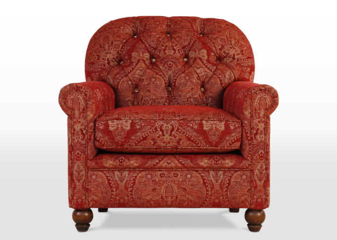 gunthorpe armchair head on, accent armchair, red armchair, chair with fabric options