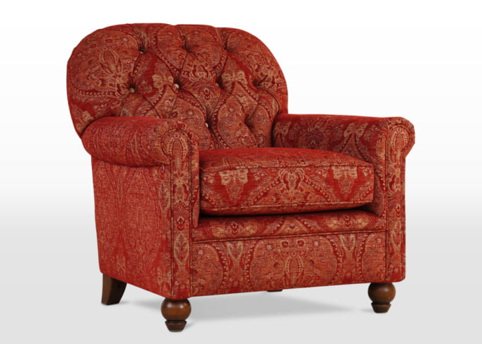 gunthorpe armchair side angle, accent armchair, red armchair, chair with fabric options