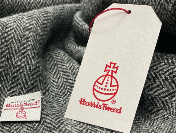 HARRIS TWEED AUTHORITY, HARRIS TWEED LABEL, GENUINE HARRIS TWEED, DOGTOOTH ORIGINAL, CHARCOAL ORGINAL