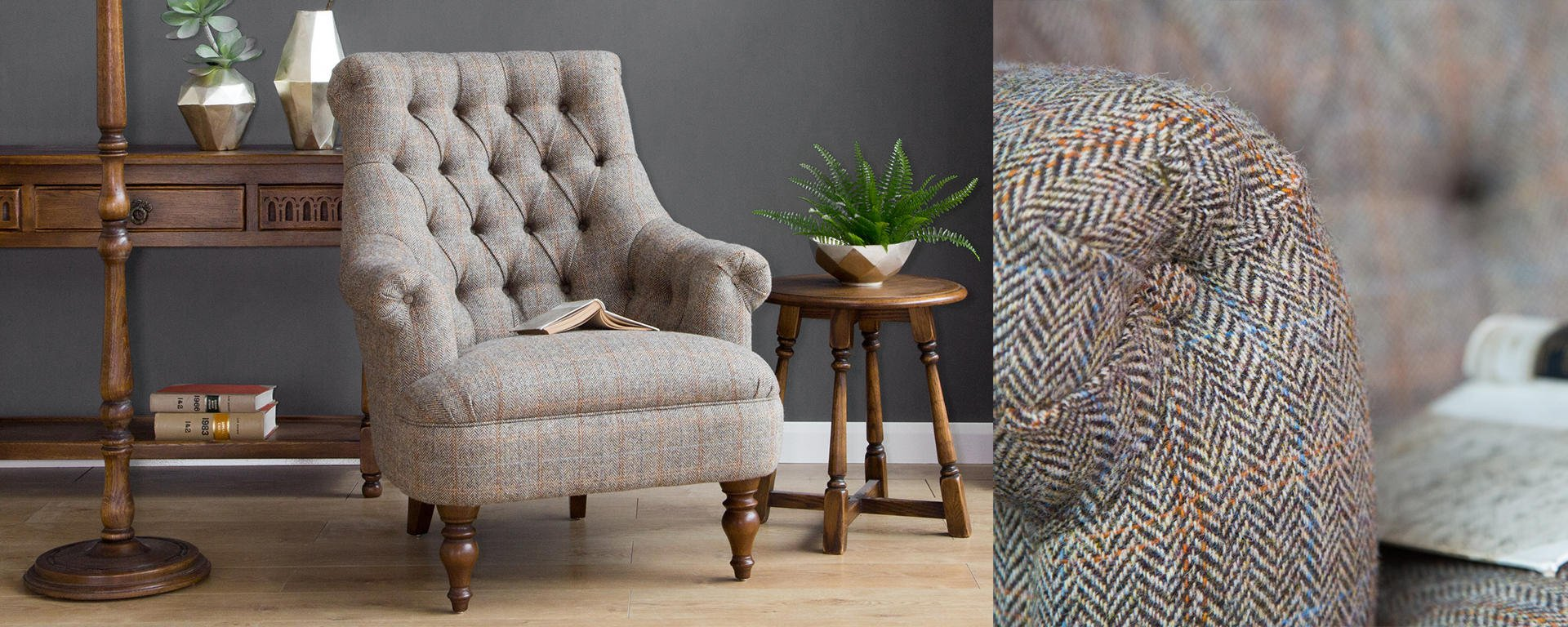 Harris Tweed Fabric, herringbone sofas, herringbone armchairs