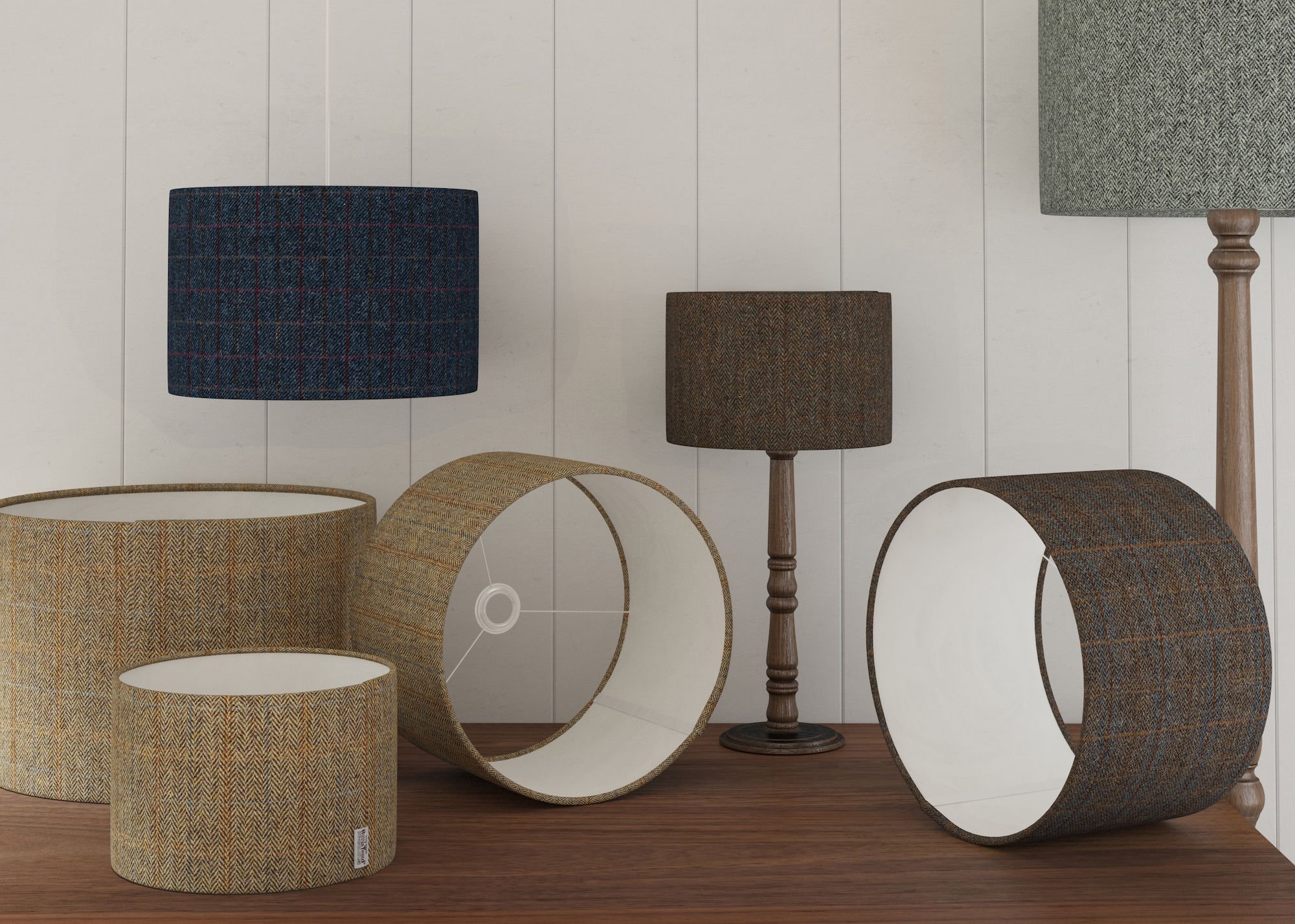 harris tweed lampshades, harris tweed shades,