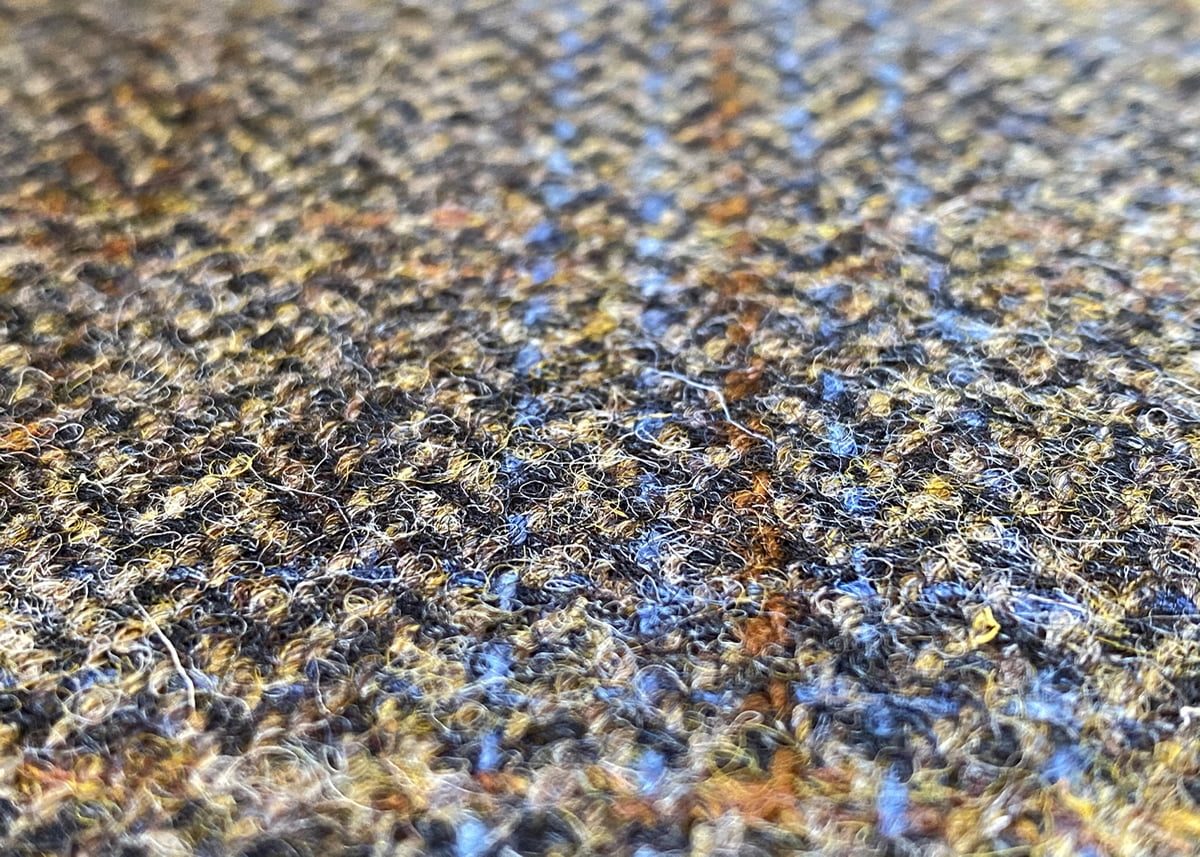 Harris Tweed Herringbone Charcoal Fabric Close-up, harris tweed herringbone