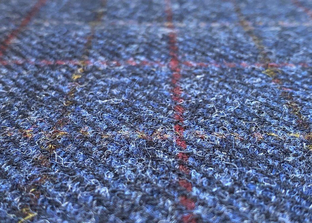 Harris Tweed Herringbone Denim Fabric Close-Up