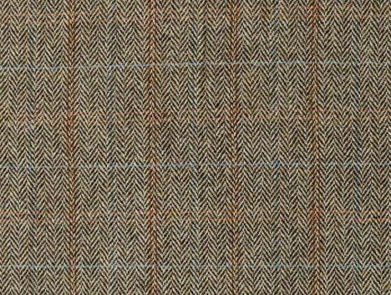Harris Tweed moss fabric, herringbone upholstery fabric