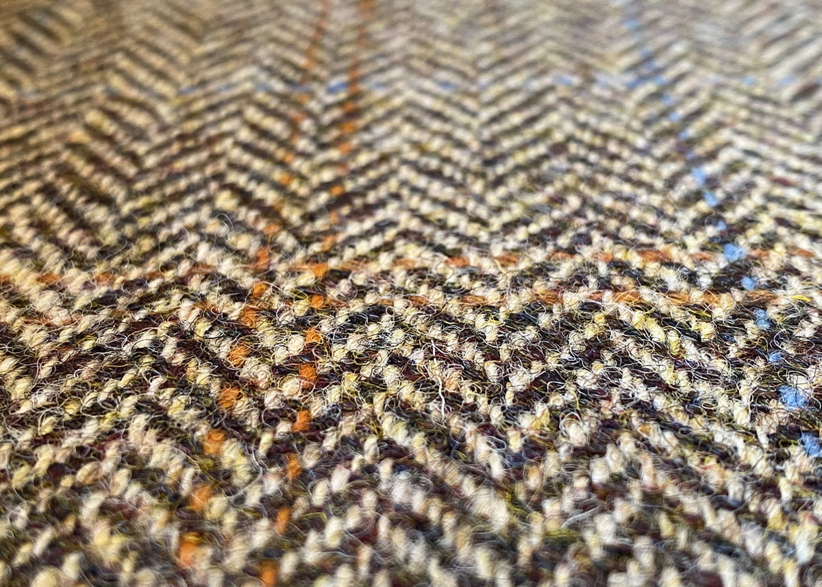 Harris Tweed Herringbone Moss Fabric Close-up, harris tweed herringbone