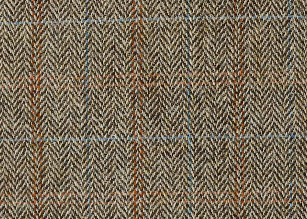 Harris Tweed Herringbone Moss Fabric Pattern