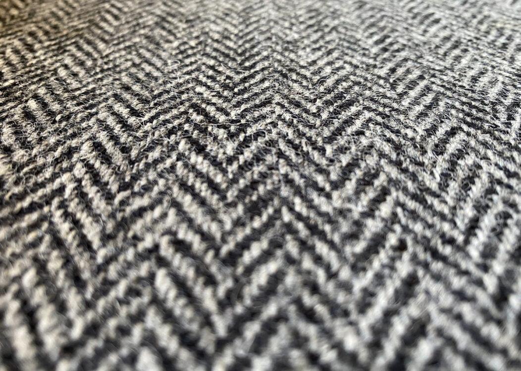 Harris Tweed Herringbone Slate Fabric Close-Up