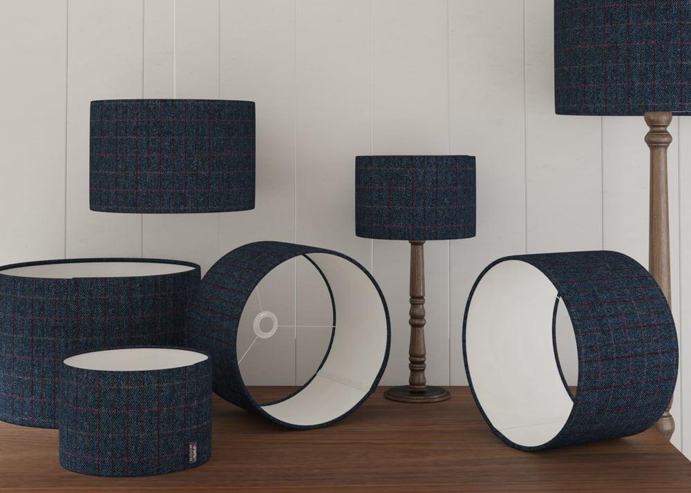 Harris Tweed Lampshades, Blue Harris Tweed Lampshades, Herringbone Lampshades, Denim Lampshades, Blue Lampshades