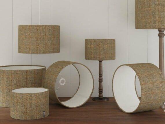 Harris Tweed Herringbone Moss lampshade