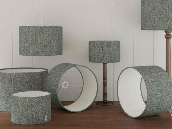 harris tweed lampshades, herringbone slate lampshades, grey herringbone lampshades, grey harris tweed lampshades