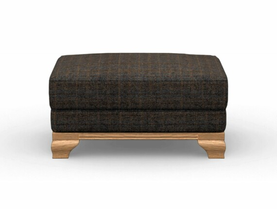 Harris Tweed Herringbone Charcoal, Lavenham Small Bench Stool in Harris Tweed