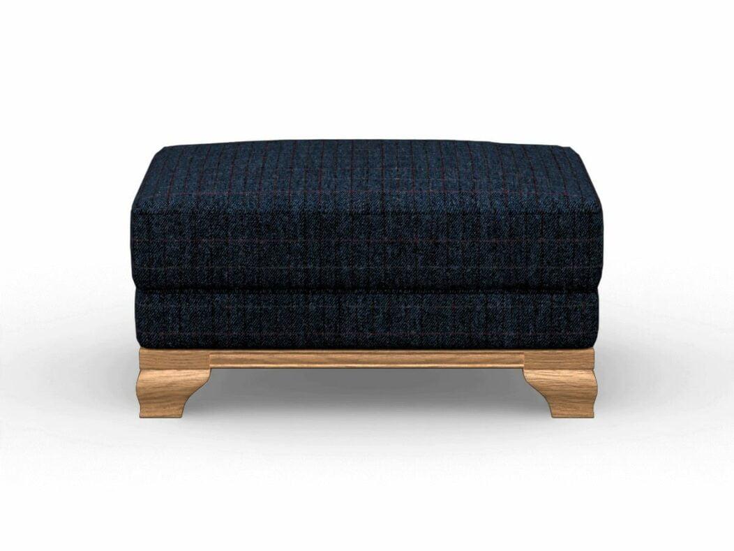 Harris Tweed Herringbone Denim, Lavenham Small Bench Stool In Harris Tweed