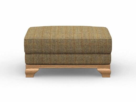 Harris Tweed Herringbone Moss, Lavenham Small Bench Stool in Harris Tweed