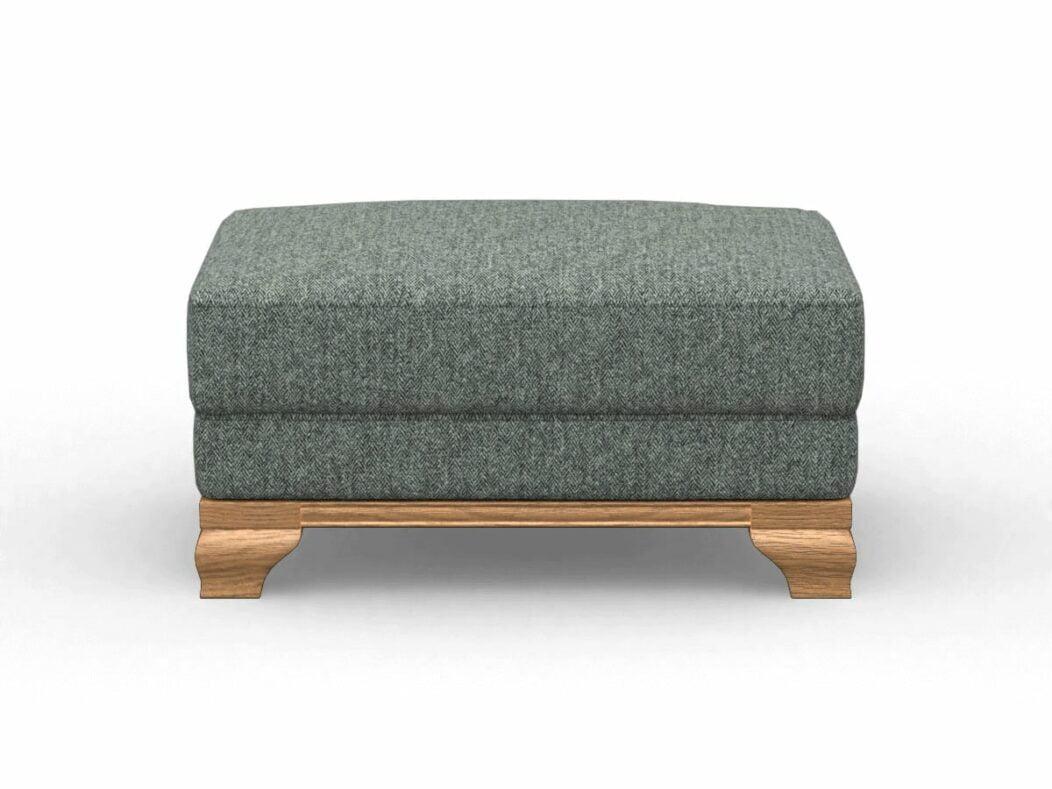 Harris Tweed Herringbone Slate, Lavenham Small Bench Stool In Harris Tweed