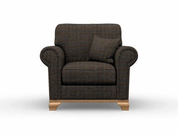 Harris Tweed Herringbone Charcoal, Lavenham Armchair in Harris Tweed