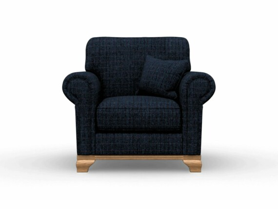Harris Tweed Herringbone Denim, Lavenham Armchair in Harris Tweed