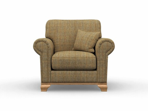 Harris Tweed Herringbone Moss, Lavenham Armchair in Harris Tweed
