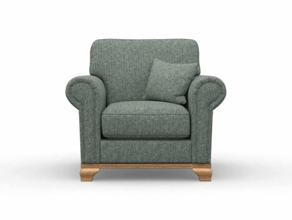 Harris Tweed Herringbone Slate, Lavenham Armchair in Harris Tweed