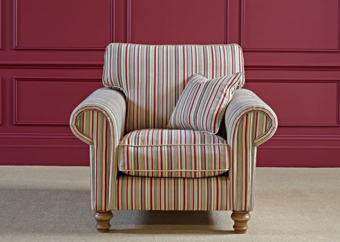 Wood Bros Armchair in Flaxan Angled Image