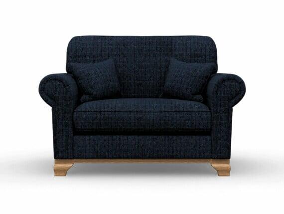 Harris Tweed Herringbone Denim, Lavenham Loveseat Sofa in Harris Tweed