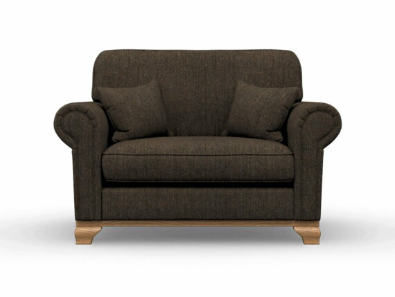 Harris Tweed Herringbone Forest, Lavenham Loveseat Sofa in Harris Tweed