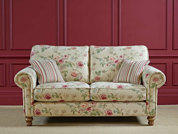Wood Bros Scatter Back Medium Sofa in Flaxan Angled Image