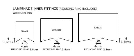 Lampshade Fittings, Lampshade Reducing Ring Included