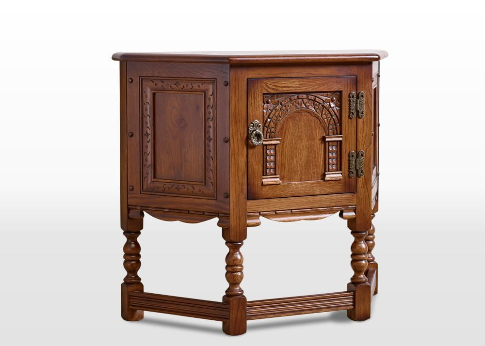Old Charm Canted Pedestal Cabinet in Light Oak Traditional Straight on Image