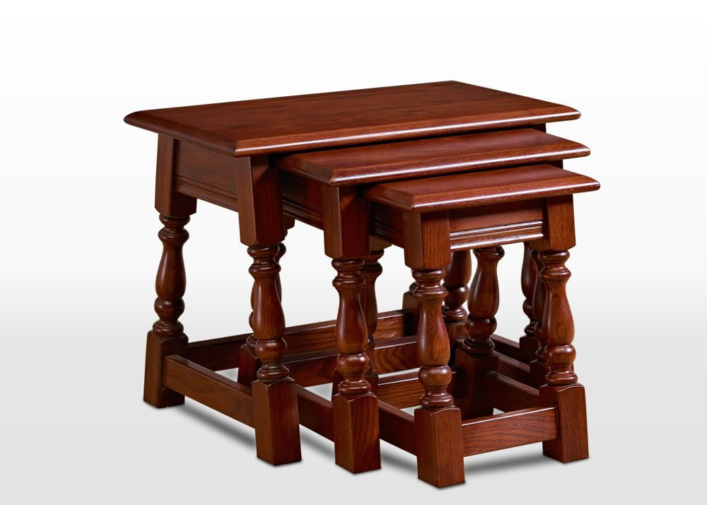 Old Charm Nest of Tables in Tudor Brown Traditional Angled Image