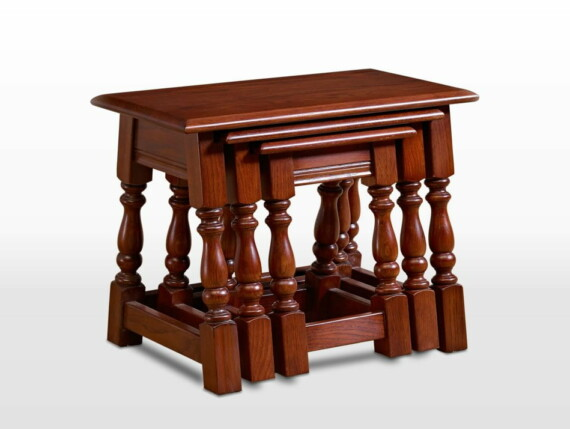 Old Charm Nest of Tables in Tudor Brown Traditional Straight on Image