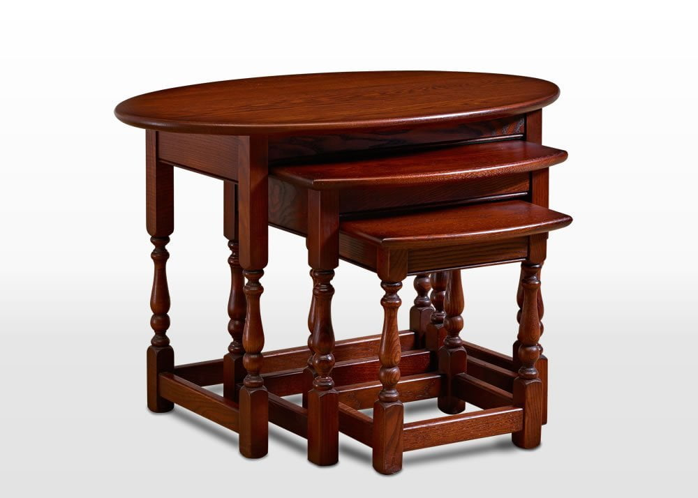 Old Charm Oval Nest of Tables in Tudor Brown Traditional Angled Image