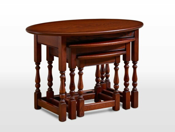 Old Charm Oval Nest of Tables in Tudor Brown Traditional Straight on Image