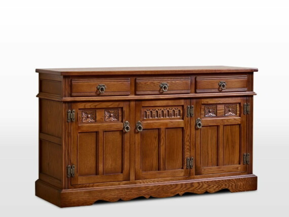 Old Charm Sideboard in Light Oak Traditional Angled Image
