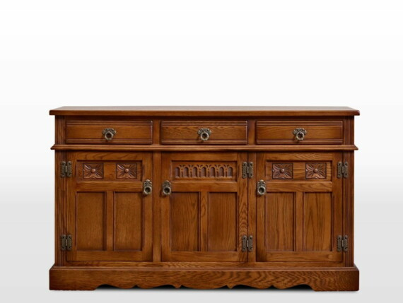 Old Charm Sideboard in Light Oak Traditional Straight on Image