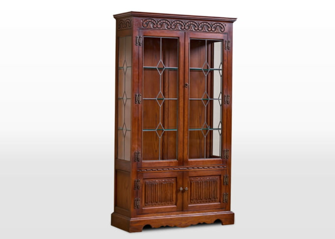 Old Charm Display Cabinet in Chestnut Traditional Angled Image