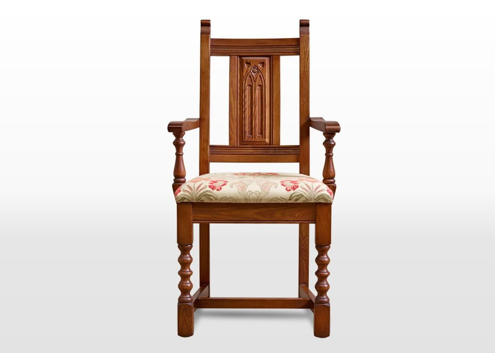 Old Charm Dining Carver In Light Oak Traditional Straight On Image