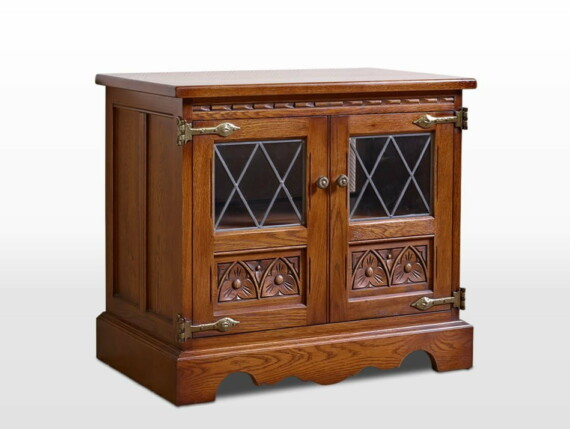 Old Charm TV Cabinet in Light Oak Traditional Angled Image
